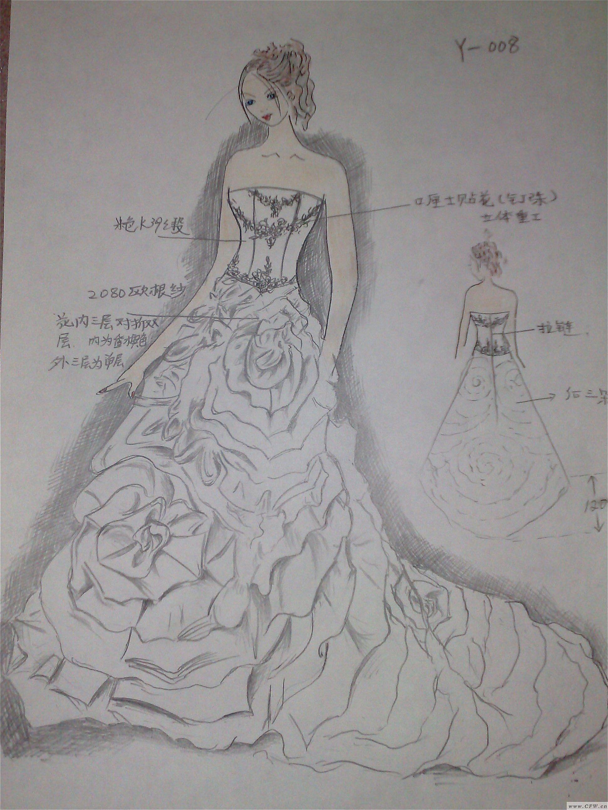 米兰婚纱设计图手稿_米兰婚纱